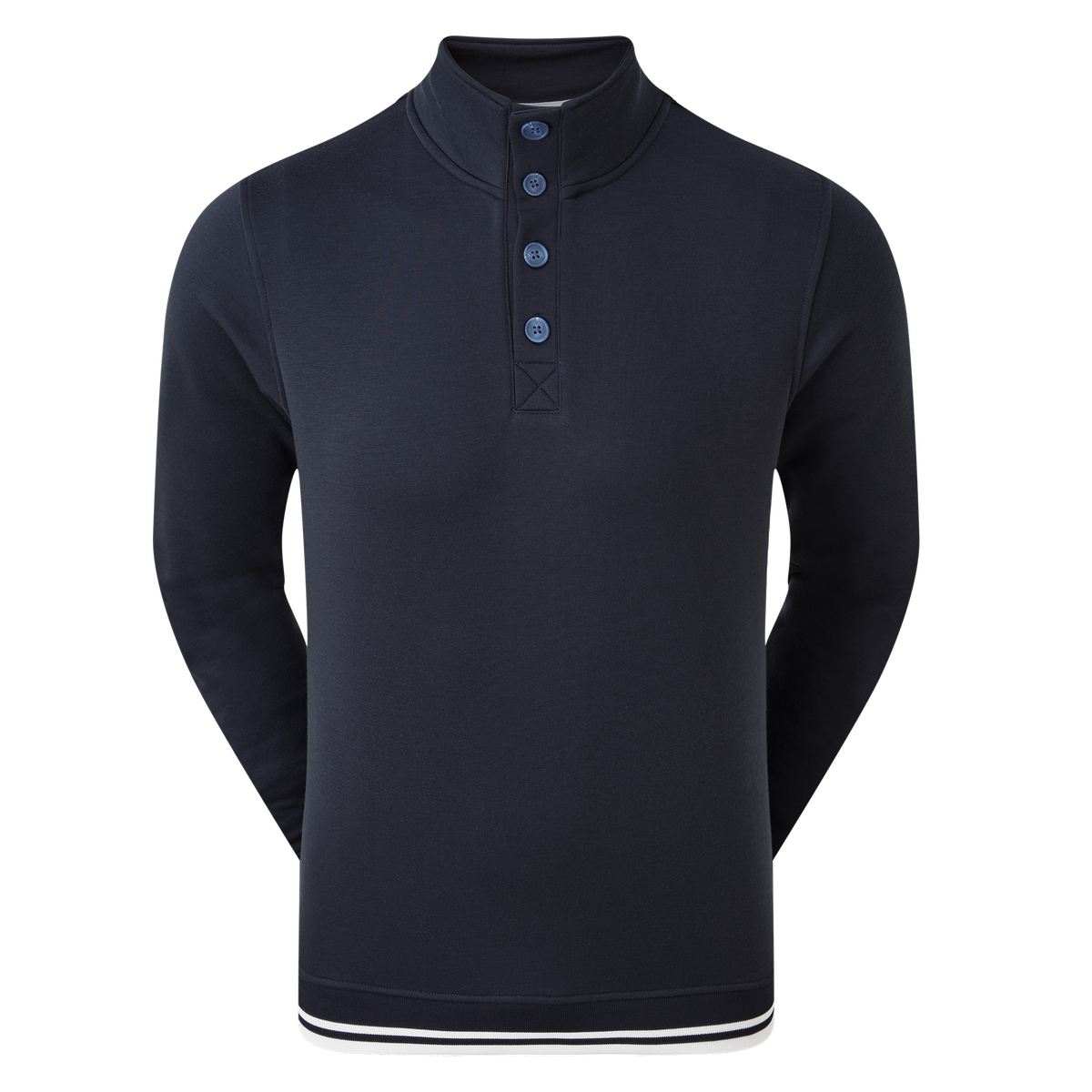 Jersey Fleece Backed Buttoned Collar Mid-Layer