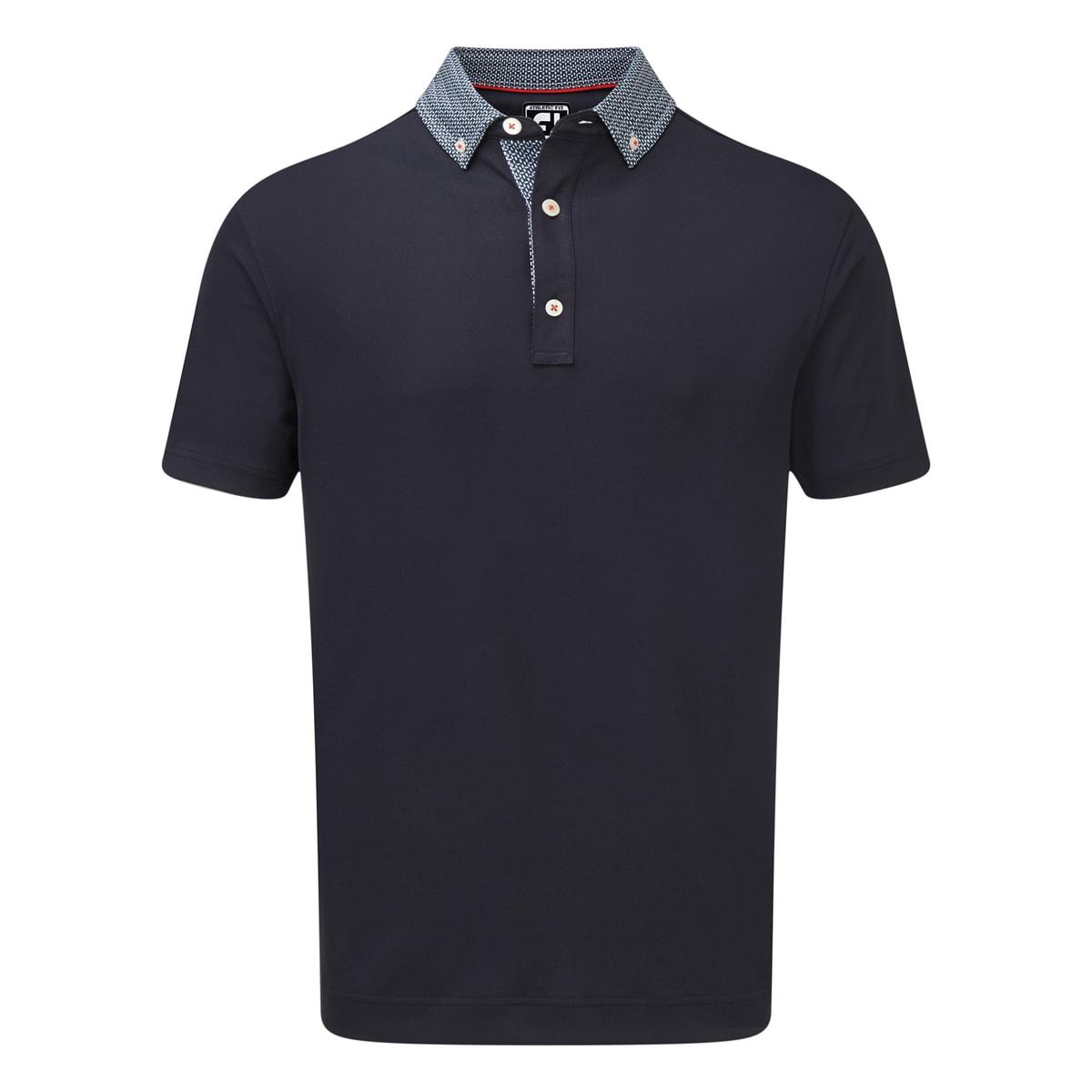 Stretch Pique with Woven Buttondown Collar