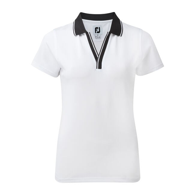 Stretch Pique Open V-Neck Women-Previous Season Style
