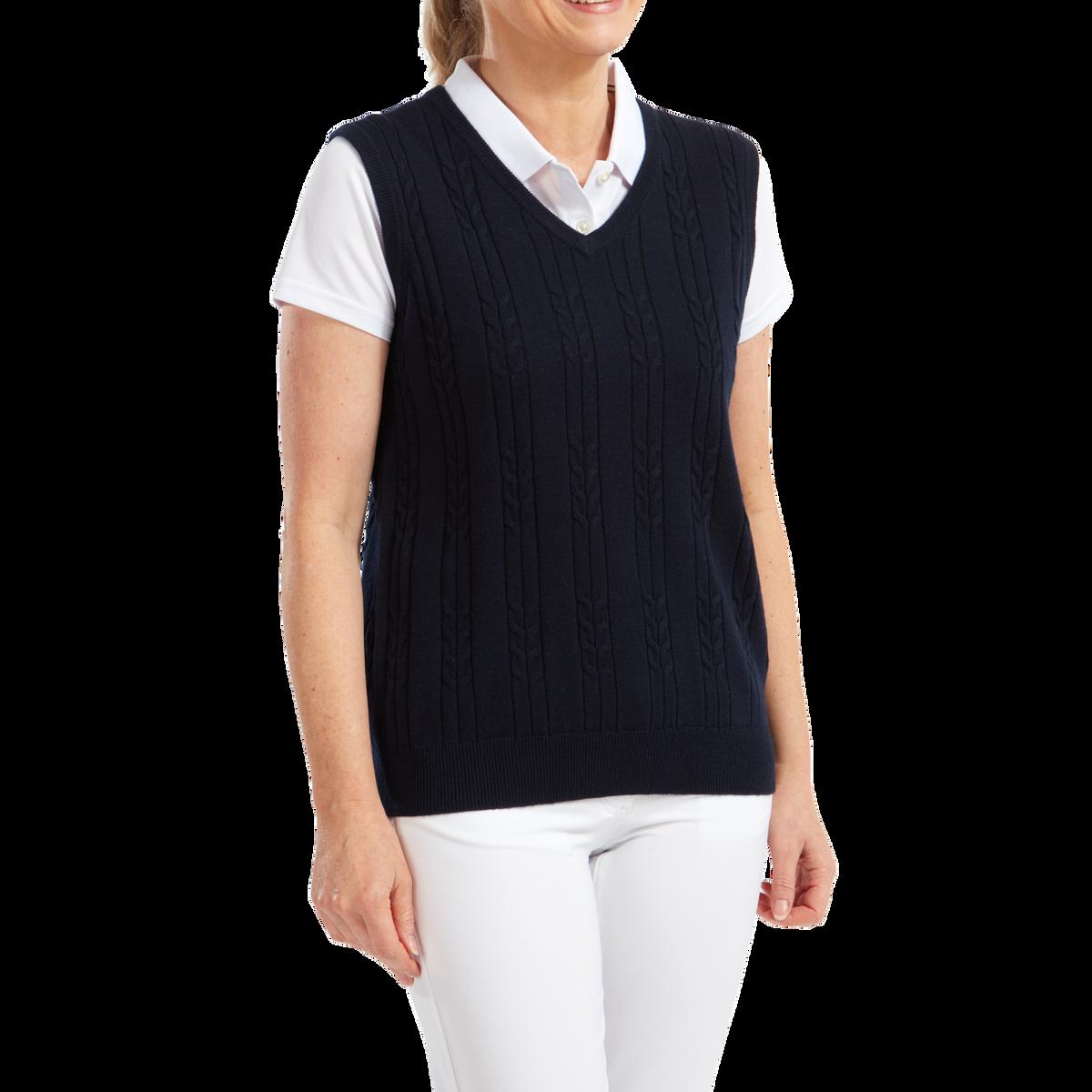 Women's Wool Blend Cable Knit V-Neck Vest