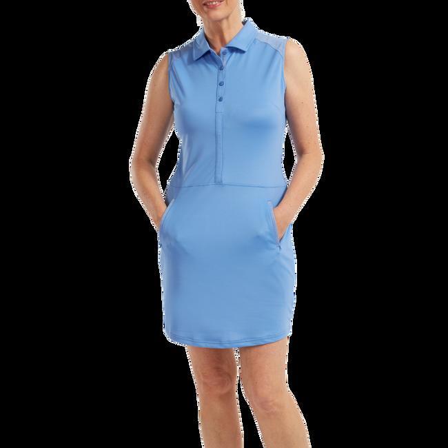 Women's Cap Sleeve Pique Dress with laser Perf. Overlay